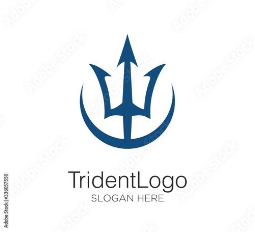 Fotografia trident logo vector design concept
