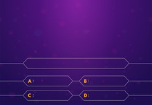 Question And Answers Template. Quiz Game In Tv. Gradient Background Of Blue And Pink Color. Four Answers For Knowledge Exam.