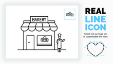 Editable Real Line Icon Of A Stick Figure Baker Standing In Full Body View In Front Of His Bakery Store Building With A Roof, Window And Door With A Open And Closed Sign Hanging In A Black Stroke