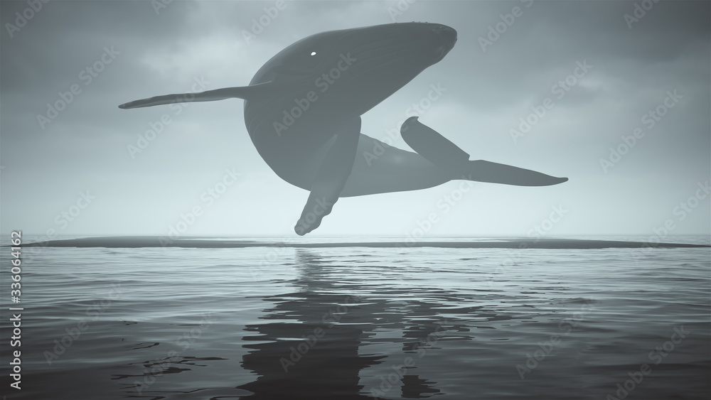 Fototapeta Mysterious Black Humpback Whale with White Eyes Floating Above Black Sand Surrounded by Water 3d illustration 3d render
