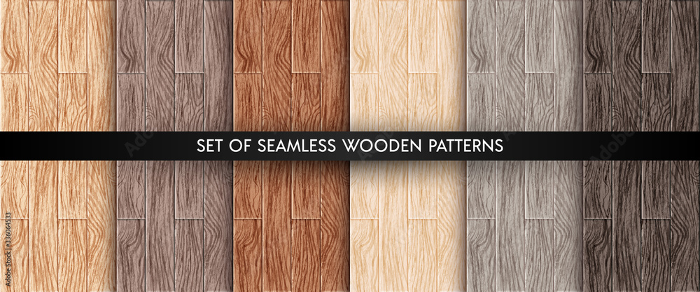 Fototapeta Wood plank texture seamless patterns set. Realistic different color wooden boards. Office and home floor textures collection. Vector illustration design elements for web, decor, app, background