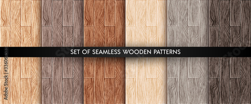Wood plank texture seamless patterns set Fototapeta