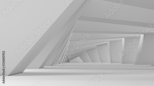 Abstract white tunnel background perspective. With light passing through rotating columns. 3d render illustration.