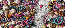 Ice Cream Hand Drawn Doodle Ba...
