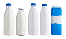 Packaging For Dairy Products, Plastic And Glass Bottles For Milk Isolated On White Background