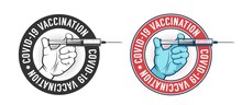 Vaccination Vintage Logo. Hand With Syringe Retro Emblem. Vector Illustration.