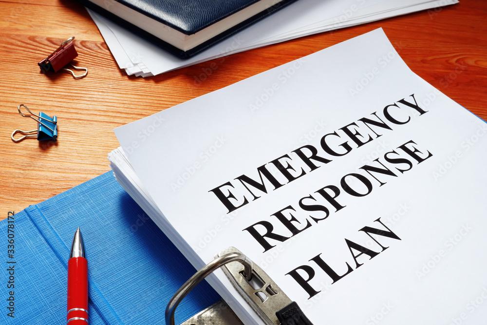 Fototapeta Open folder with Emergency response plan.