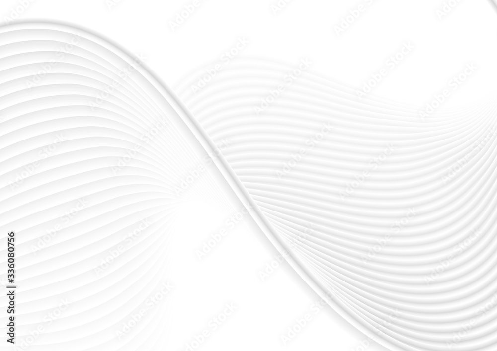 Fototapeta Refracted grey white curved waves abstract elegant background. Vector wavy design
