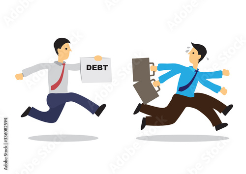 Worried businessman running away from his debt collector Fototapeta