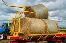 Straw On A Trailer From A Trac...