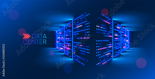 Obraz Data center. abstract digital warehouse. Server room of clouds computing technology. Server farm communication with internet. Network connection and information exchange lights glow in the dark. - fototapety do salonu