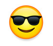 High quality emoticon with sunglasses. Cool smiling Face with Sunglasses vector illustration. A yellow face with a broad, closed smile wearing black sunglasses.
