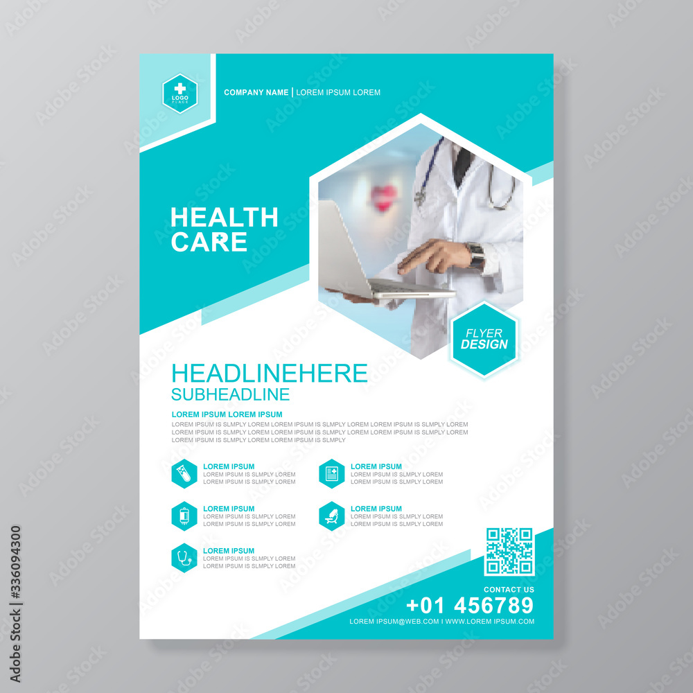 Fototapeta  Corporate healthcare and medical cove a4 flyer design template for print