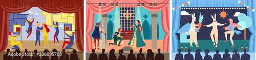 Obraz Actors on theater stage vector illustration. Cartoon flat character play act or scene of drama show in theatre interior, acting people in opera performance, audience watching theatrical premiere set - fototapety do salonu
