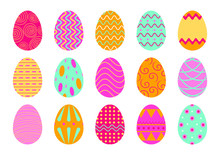 Set Of Easter Eggs Isolated On...