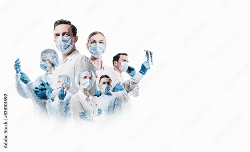 Fototapeta team of medical professionals on a white background