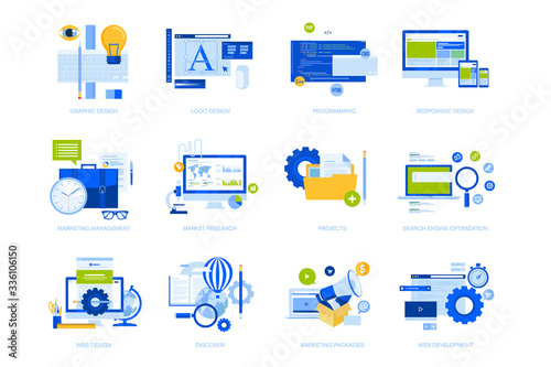 Fototapeta Flat design concept icons collection. Vector illustrations for graphic and web design and development, app development, seo, digital marketing and market research.  obraz