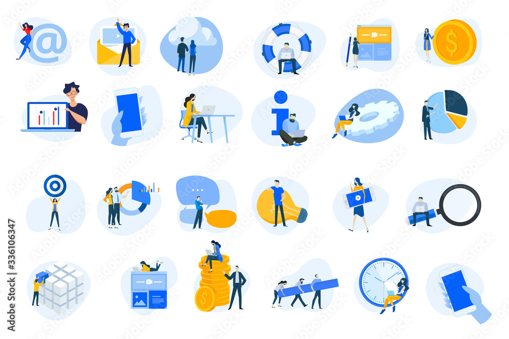 Fototapeta Flat design concept icons collection. Vector illustrations for internet services, cloud computing, content management, web development, business, video streaming, teamwork, finance, mobile using.