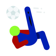 Football  Air-borne Strike On White Background, Soccer Kick A Volley Concept, Topspin Symbol Vector Color Icon Design