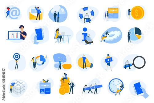 Fototapeta Flat design concept icons collection. Vector illustrations for internet services, cloud computing, content management, web development, business, video streaming, teamwork, finance, mobile using.  obraz