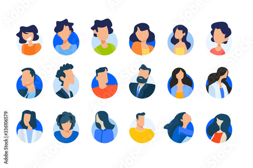 Obraz Flat design concept icons collection. Vector illustrations of modern people avatars. Icons for graphic and web designs, marketing material and business presentations, social media, user account.  - fototapety do salonu
