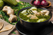 Tinola (Close Up)- A Famous Filipino Vegetable Soup Dish That Is Usually Made From Ginger, Fish Sauce And Chicken Broth, Usually Mixed With  Moringa And Chayote