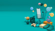 Smartphone surrounded by Shopping cart, shopping basket, shopping bag, gift box,cart ,store, and wallet on colour background. colorful balls on colour background.-3d rendering.