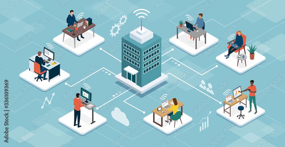 Fototapeta Business company managing telework online