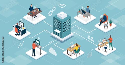Fototapeta Business company managing telework online obraz