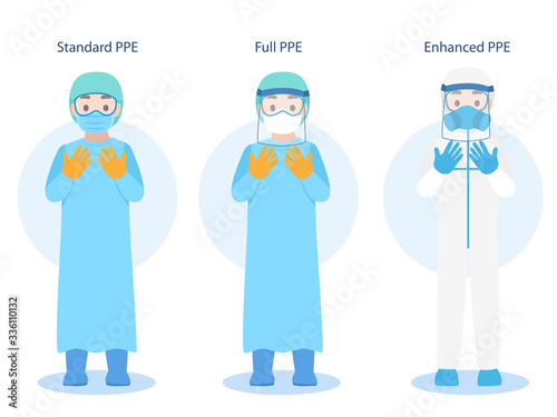 Obraz Set of Doctors Character wearing in PPE personal protective suit Clothing isolated and Safety Equipment for prevent Corona virus, people wearing Personal Protective Equipment.Work safety - fototapety do salonu
