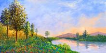 Impressionism Scenery. Mountai...