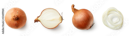 Fotomural Set of fresh whole and sliced onions