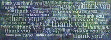 We Really Can't Thank You Enough Banner -  Grunge Blue Green Rustic Brick Wall With Many Different Size And Fonts Saying Thank You And Thanks