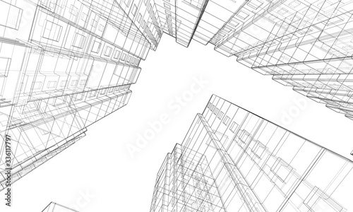 Photo Vector wire-frame model of a multi-storey building