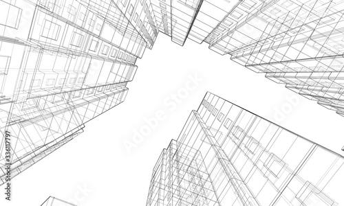 Obraz Vector wire-frame model of a multi-storey building - fototapety do salonu