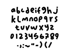 Hand Drawn Written Alphabet With Numbers And Symbols. Vector Font Letter Isolated On White Background