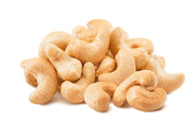 Big Pile Of Cashew Nuts Isolated On White Background
