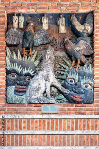 Fotomural Oslo, Norway - Nordic mythology motives of Garm and Ragnarok in exterior decorat