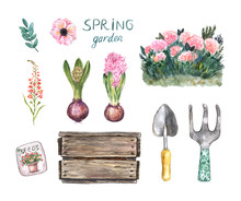Watercolor Gardening Elements ...