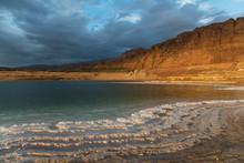 Dead Sea Salt Sediments Illuminated With Evening Sun