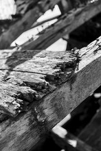 Abstract Image Of Old Wooden Boat Wreck Carcass, Black And White