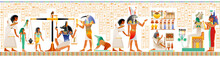 Seamless Egyptian Papyrus From Book Of Dead. Weighing Of Heart, Afterlife Duat Ritual. Osiris Judgment Scales Pair Vector Illustration. Gods Anubis, Thoth, Isis. Ancient Egypt Papyrus, Hieroglyph Text