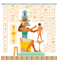 Egyptian Papyrus With God Khnum With Ram Head Creating Human Man At Potter Wheel From Clay. Ancient Egyptian Deities In Old Historical Paper Art. Vector Illustration Isolated. Ancient Egypt Hieroglyph