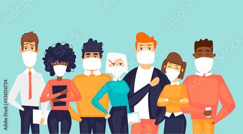 Fotografia Masked people. Virus. Flat design vector illustration.