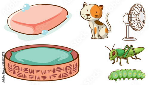 Fotografia Large set of different animals and other objects on white background