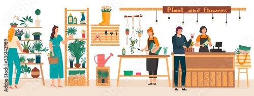 Obraz Flowers and plants florist shop interior with florists care for houseplants, woman buys flowers cartoon vector illustration. Floral gifts shop and plants store for home garden green decoration. - fototapety do salonu