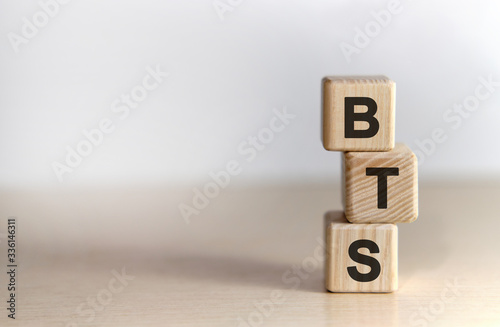 BTS - text on wooden cubes, on white background Poster Mural XXL