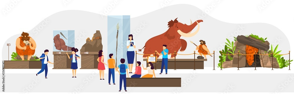 Fototapeta School class in natural history museum, primitive people stone age exhibition, vector illustration. Teacher guide children, historic lesson of human society evolution. Caveman hunting mammoth, cartoon