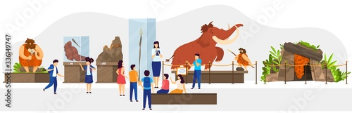 School class in natural history museum, primitive people stone age exhibition, vector illustration. Teacher guide children, historic lesson of human society evolution. Caveman hunting mammoth, cartoon