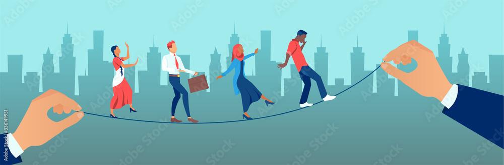 Fototapeta Vector of a group of people walking on balancing tight rope being held by big businessmen